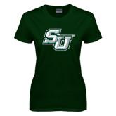 Ladies Dark Green T Shirt-