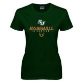 Ladies Dark Green T Shirt-Baseball Stencil