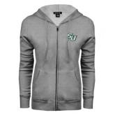 ENZA Ladies Grey Fleece Full Zip Hoodie-