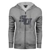 ENZA Ladies Grey Fleece Full Zip Hoodie-SU Graphite Soft Glitter