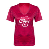 Ladies Pink Raspberry Camohex Performance Tee-SU w/ Hat