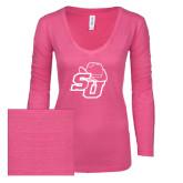 ENZA Ladies Hot Pink Long Sleeve V Neck Tee-SU w/ Hat