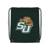 Dark Green Drawstring Backpack-SU w/ Hat