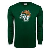 Dark Green Long Sleeve T Shirt-SU w/ Hat Distressed