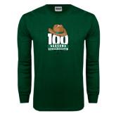 Dark Green Long Sleeve T Shirt-100 Seasons of Baseball