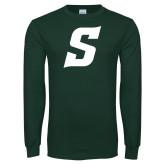 Dark Green Long Sleeve T Shirt-Secondary Logo