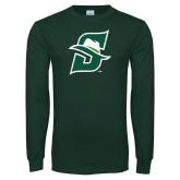 Dark Green Long Sleeve T Shirt-S Logo Distressed