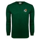 Dark Green Long Sleeve T Shirt-SU w/ Hat