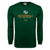 Dark Green Long Sleeve T Shirt-Baseball Stencil