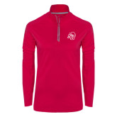 Ladies Pink Raspberry Sport Wick Textured 1/4 Zip Pullover-SU w/ Hat