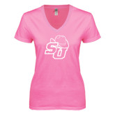 Next Level Ladies Junior Fit Ideal V Pink Tee-SU w/ Hat