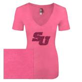 Next Level Ladies Vintage Pink Tri Blend V-Neck Tee-SU Hot Pink Glitter