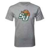 Grey T Shirt-SU w/ Hat Distressed