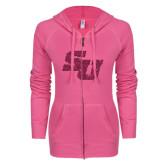 ENZA Ladies Hot Pink Light Weight Fleece Full Zip Hoodie-SU Hot Pink Glitter
