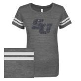 ENZA Ladies Dark Heather/White Vintage Triblend Football Tee-SU Graphite Soft Glitter