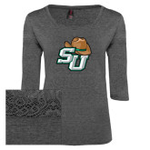 Ladies Charcoal Heather Tri Blend Lace 3/4 Sleeve Tee-SU w/ Hat