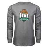 Grey Long Sleeve T Shirt-100 Seasons of Baseball