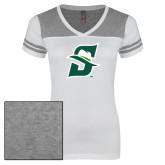 Ladies White/Heathered Grey Juniors Varsity V Neck Tee-Primary logo