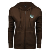 ENZA Ladies Brown Fleece Full Zip Hoodie-