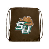 Brown Drawstring Backpack-SU w/ Hat