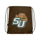 Brown Drawstring Backpack-SU w/ Hat