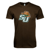 Next Level SoftStyle Brown T Shirt-SU w/ Hat