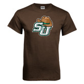 Brown T Shirt-SU w/ Hat Distressed