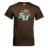 Brown T Shirt-SU w/ Hat Distressed