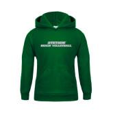 Youth Dark Green Fleece Hoodie-Beach Volleyball
