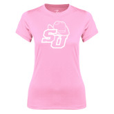 Ladies Performance Light Pink Tee-SU w/ Hat