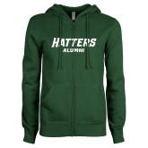 ENZA Ladies Dark Green Fleece Full Zip Hoodie-Alumni