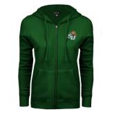 ENZA Ladies Dark Green Fleece Full Zip Hoodie-SU w/ Hat