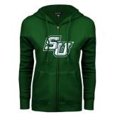 ENZA Ladies Dark Green Fleece Full Zip Hoodie-