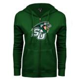 ENZA Ladies Dark Green Fleece Full Zip Hoodie-SU John