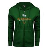 ENZA Ladies Dark Green Fleece Full Zip Hoodie-Baseball Stencil