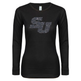 Ladies Black Long Sleeve V Neck T Shirt-SU Graphite Soft Glitter