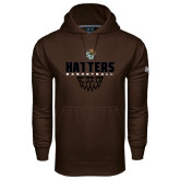Under Armour Brown Performance Sweats Team Hoodie-Basketball Net Stacked