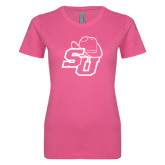 Ladies SoftStyle Junior Fitted Fuchsia Tee-SU w/ Hat