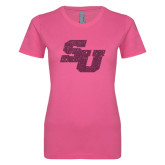 Ladies SoftStyle Junior Fitted Fuchsia Tee-SU Pink Glitter