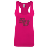 Next Level Ladies Raspberry Ideal Racerback Tank-SU Hot Pink Glitter