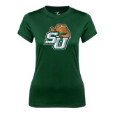 Ladies Performance Dark Green Tee-SU w/ Hat