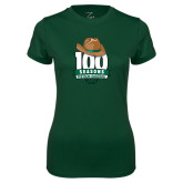 Ladies Performance Dark Green Tee-100 Seasons of Baseball