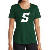 Ladies Performance Dark Green Tee-Secondary Logo