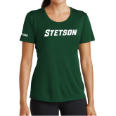 Ladies Performance Dark Green Tee-Stetson