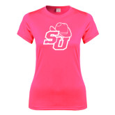 Ladies Performance Hot Pink Tee-SU w/ Hat