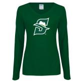 Ladies Dark Green Long Sleeve V Neck Tee-Primary logo