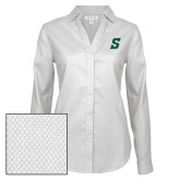 Ladies Red House Diamond Dobby White Long Sleeve Shirt-Secondary Logo