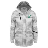Ladies White Brushstroke Print Insulated Jacket-Primary logo