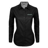 Ladies Black Twill Button Down Long Sleeve-Stetson