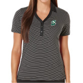 Ladies Callaway Core Stripe Black/White Polo-Primary logo